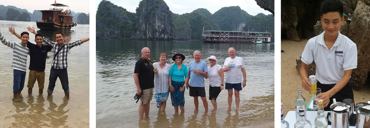 Narelle and Martin on the Red River and Halong Bay river cruise in Vietnam.