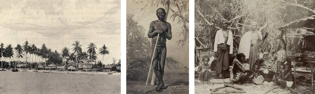 Bokpyim 1907, Andaman Islander 1892 and village Selon a I'Isle St Luke