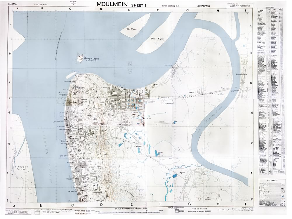 Burma, Moulmein 1945 map