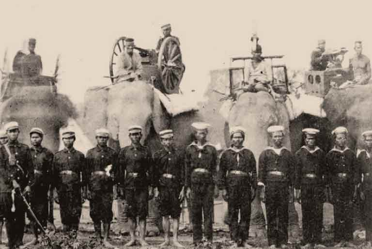 Lascars and Elephant Artillery, 1885
