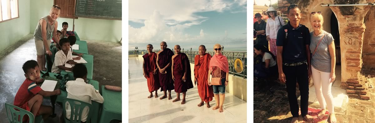 Lynda Brown on the Mandalay to Pagan river cruise in Burma (Myanmar).