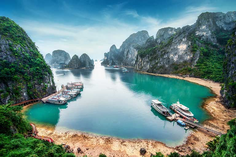 Aerial view of Ha Long Bay in Vietnam