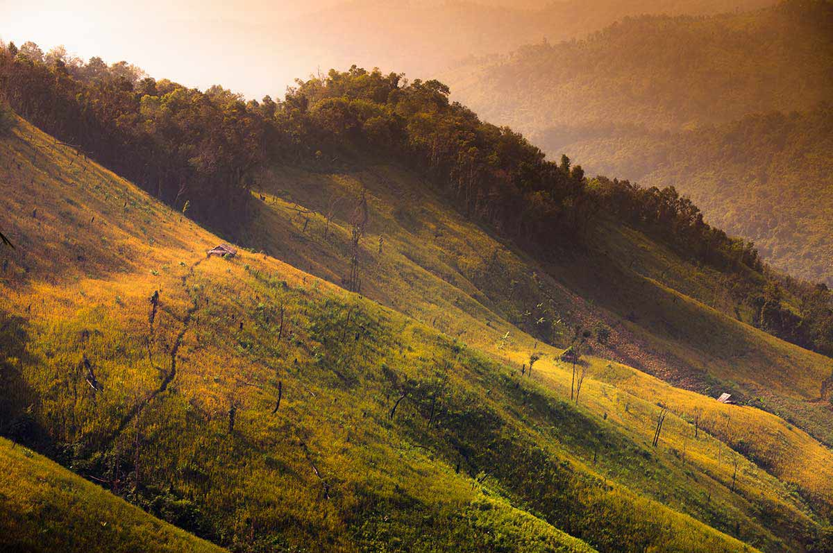 An image of Chaing Khong's beautiful landscapes and tranquil views captured during sunrise