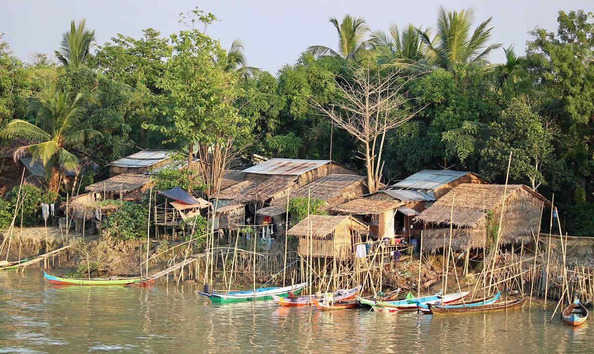 Houses on the banks of the Irrawaddy river at Wakema