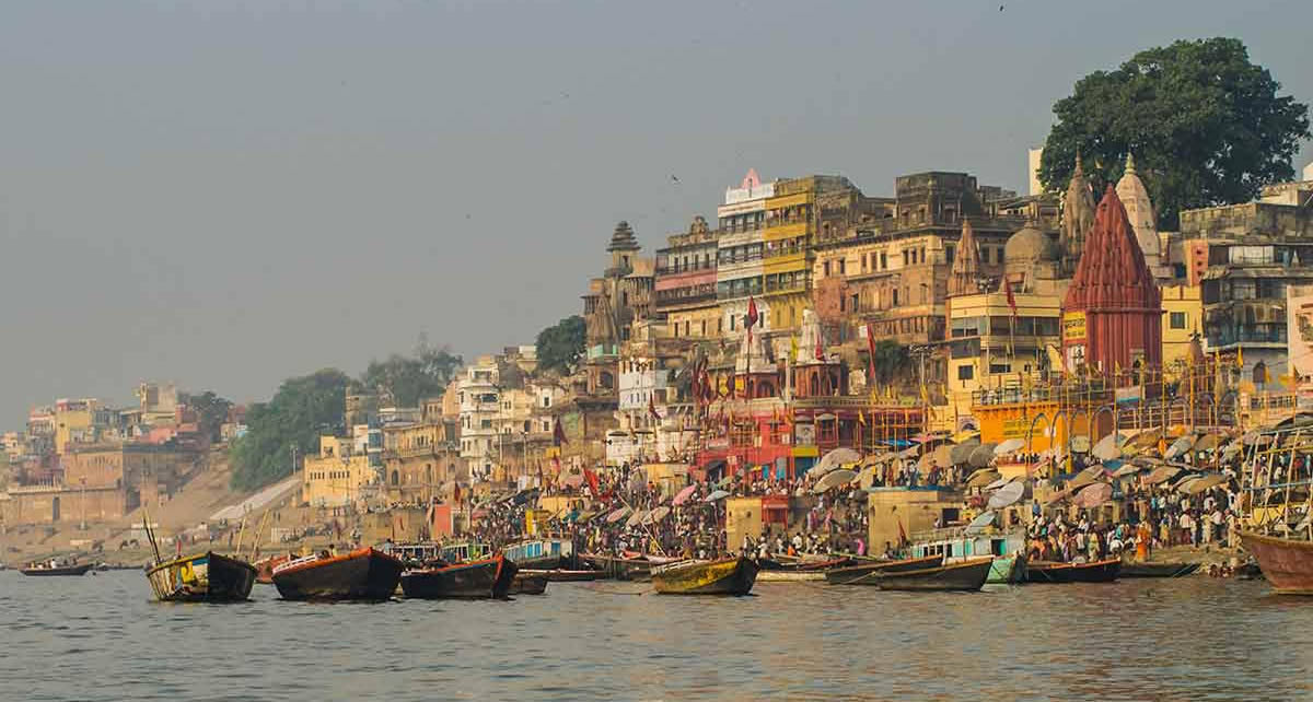 Varanasi at twilight on the banks of the Ganges